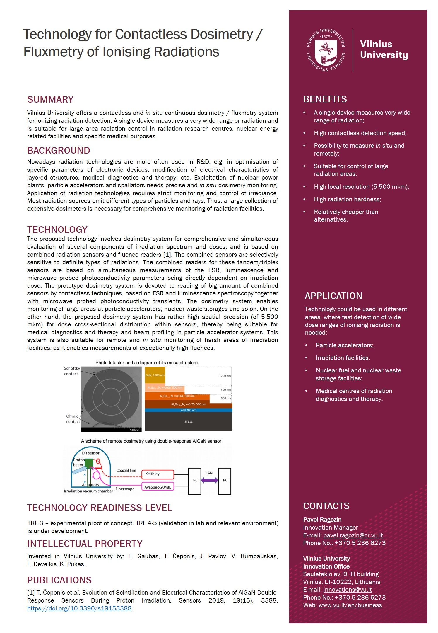 Onepager Technology for Contactless Dosimetry Fluxmetry of Ionising Radiations