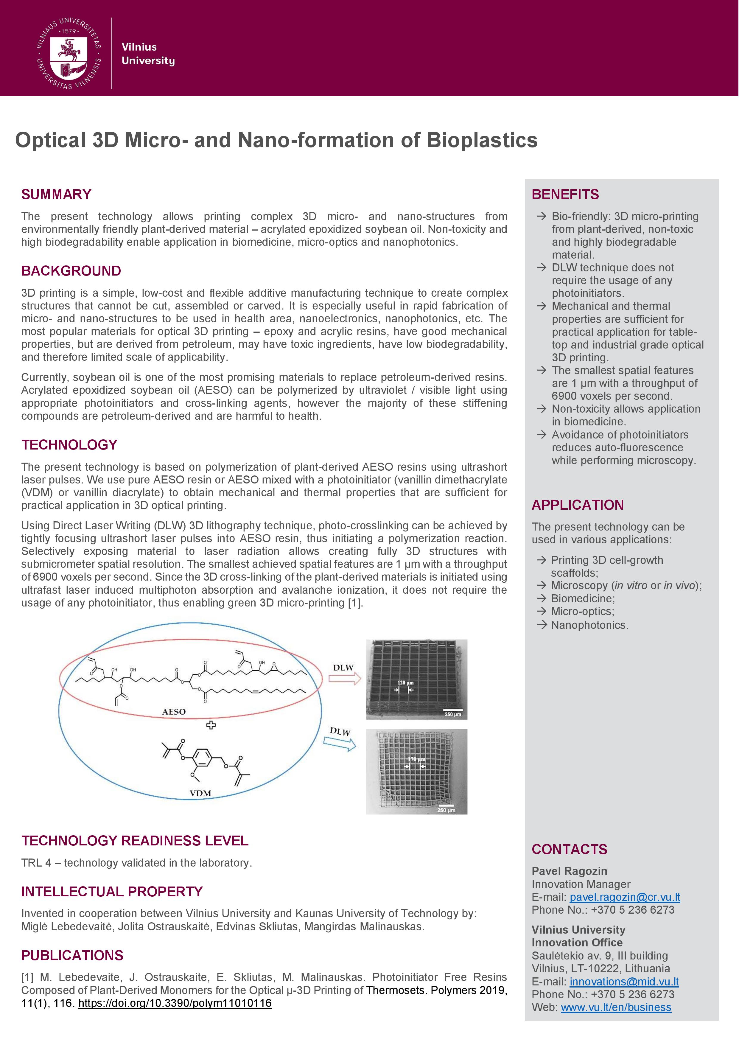 Optical 3D micro and nano formation of bioplastics EN v.2 page 001